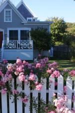 Weißer Gartenzaun mit Blumen