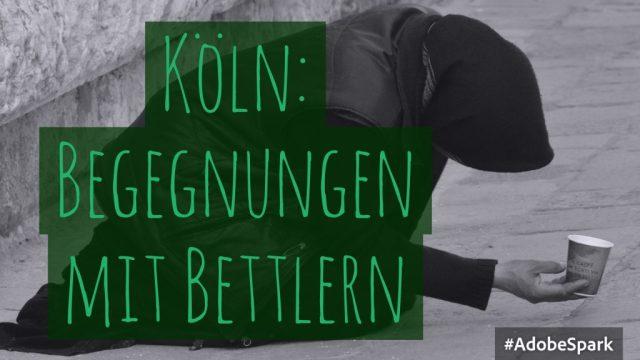 In Köln sieht man oft ähnliche Bettler am Straßenrand sitzen, wie auf diesem Schmuckbild.