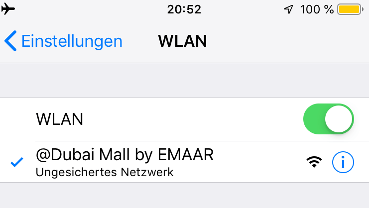 Screenshot wifi Dubai Mall