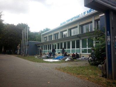 Jahnsporthalle Refugee Protest