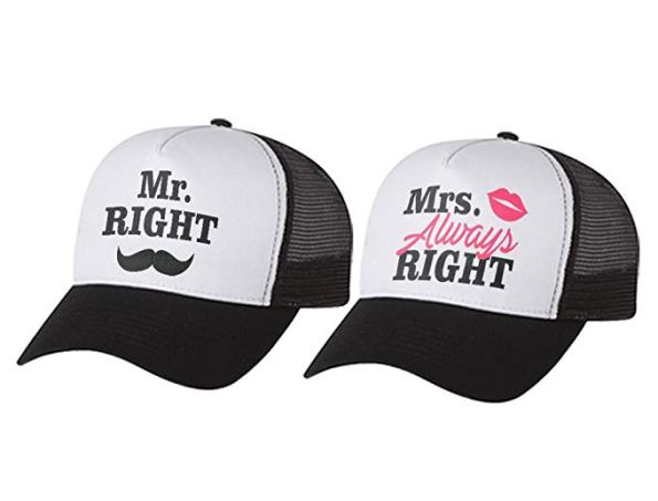 Casquettes Mr right & Mrs always Right
