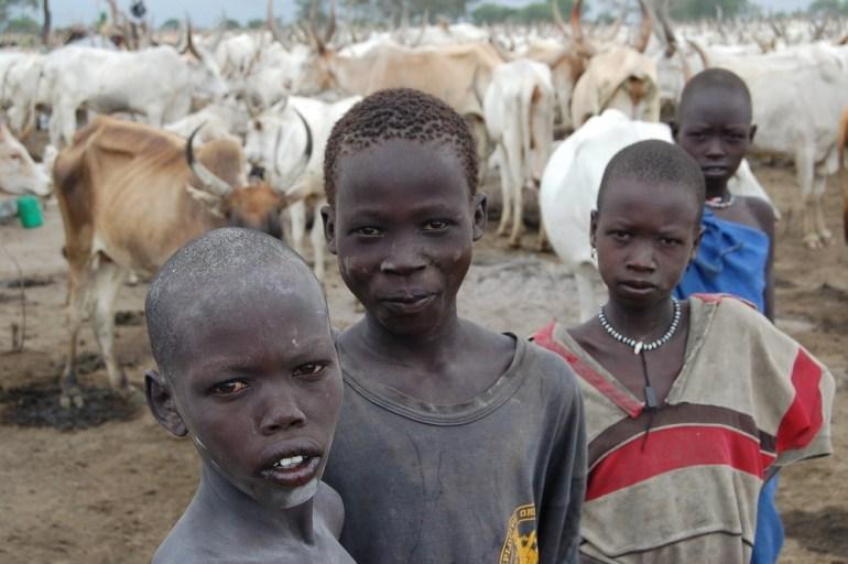 Dinka people of the Bahr el Ghazal region in the Republic of Sudan don bronze hair after repeated washings in cow urine.