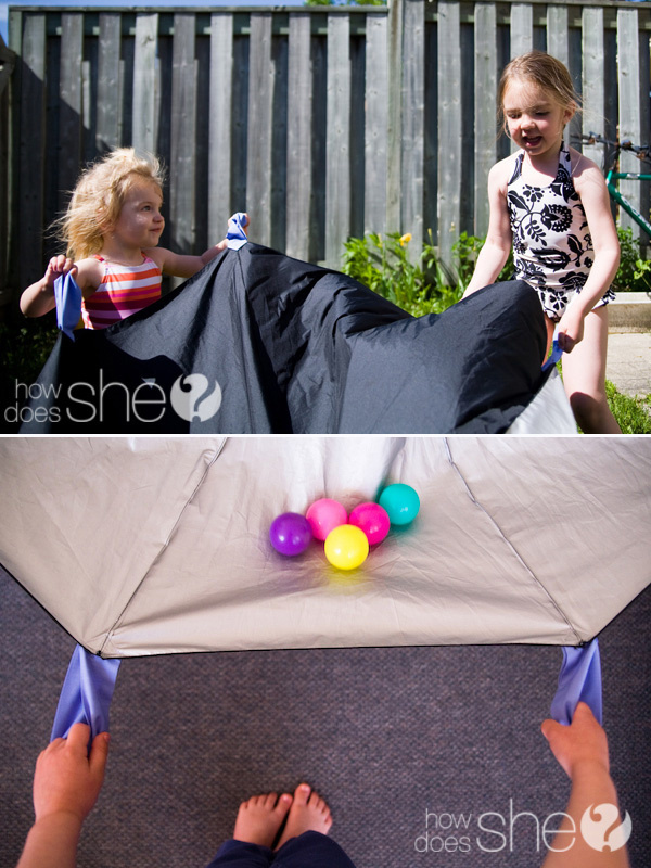 Turn a broken umbrella into one of those ginormous kid parachute things.