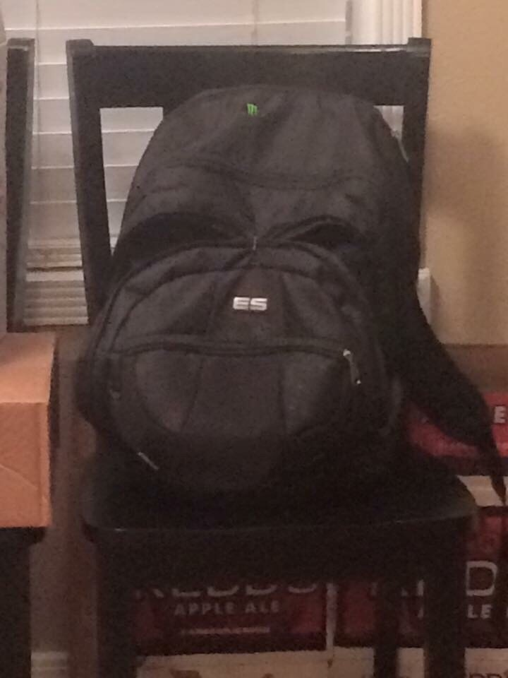 This backpack looks a lot like Darth Vader.