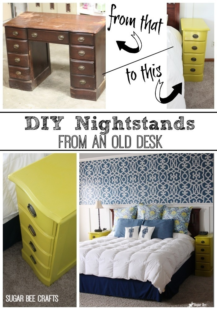 Turn parts of a broken desk into a nightstand.