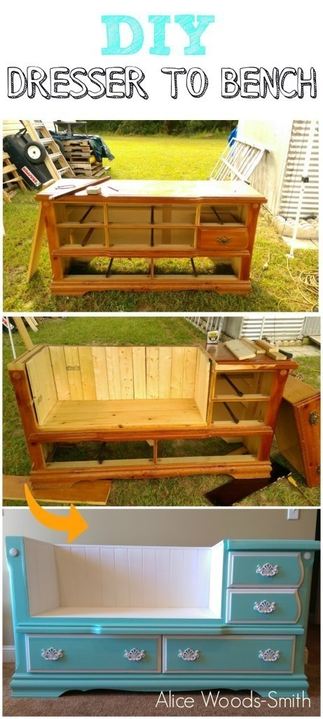 Turn an old dresser into a bench.
