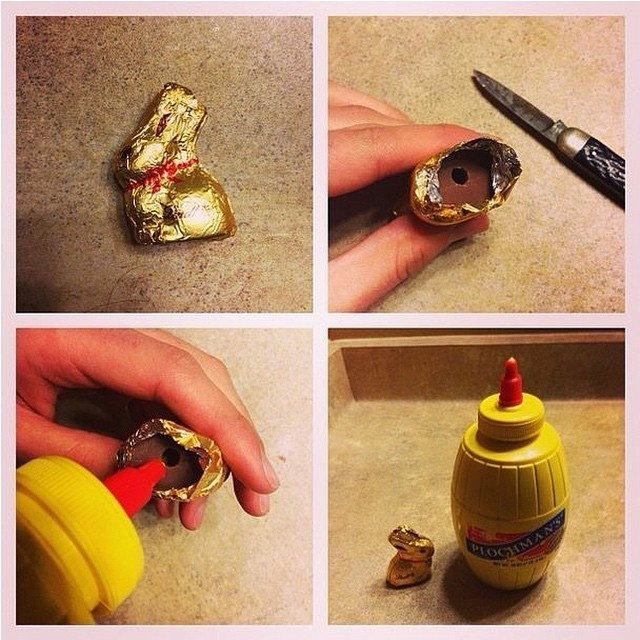 Fill the inside of hollow Easter candies with mustard.