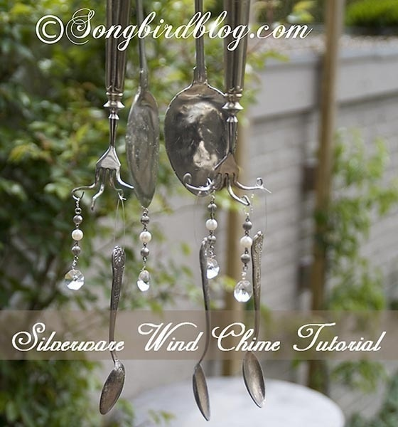 Make wind chimes out of broken dishes and silverware.