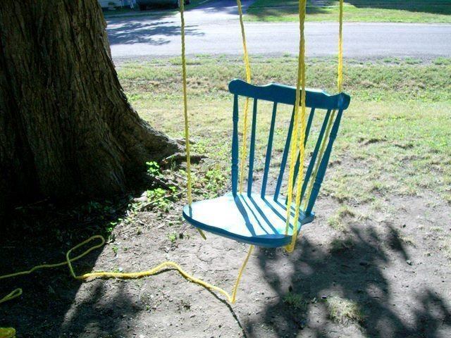 Create a swing out of a broken chair.