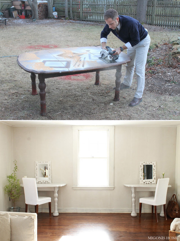 Create two desks out of a broken table.