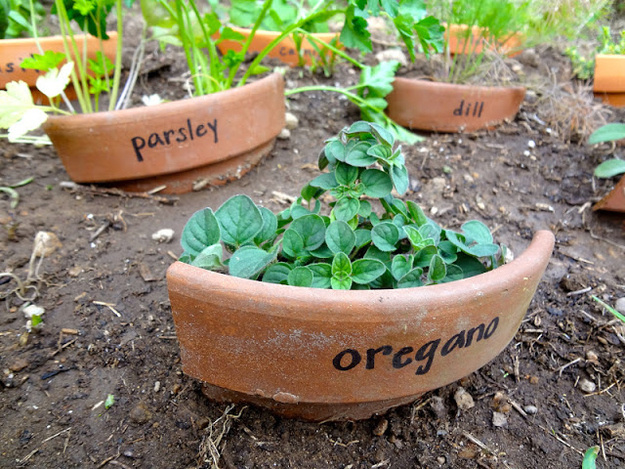 Turn broken pots into plant markers.