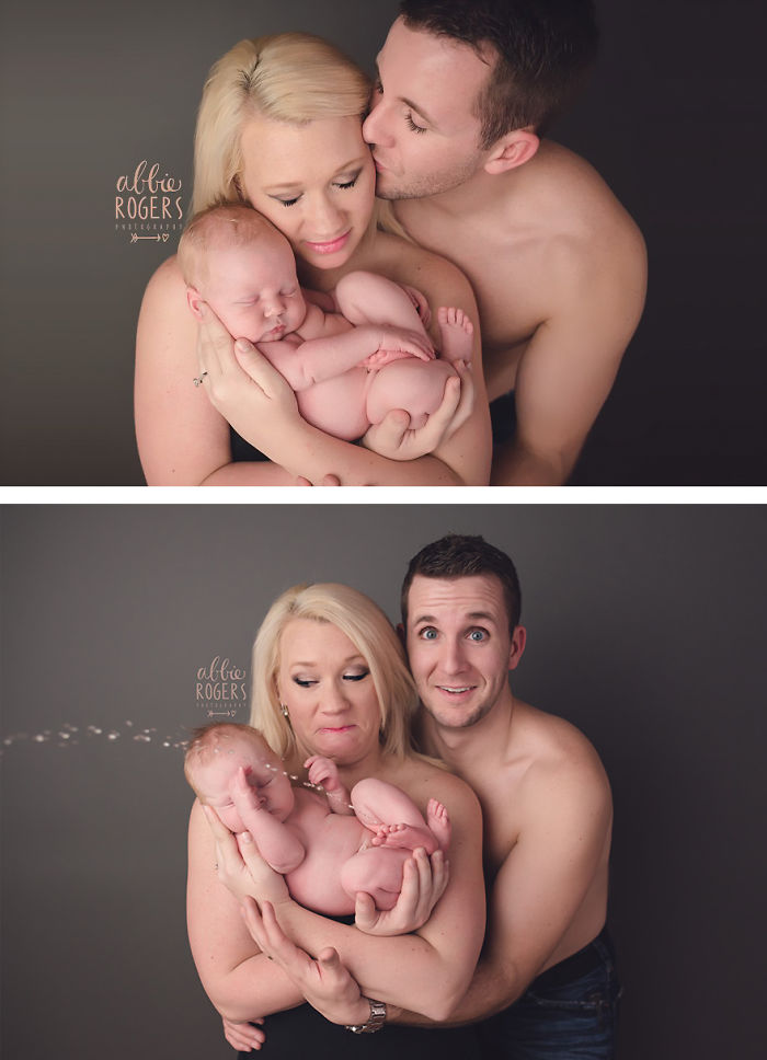 Unforgettable Moment Baby Interrupts Photoshoot With A Shower