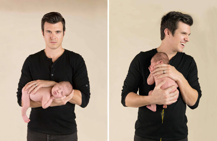 Baby Makes A Mess Of Photoshoot With Dad