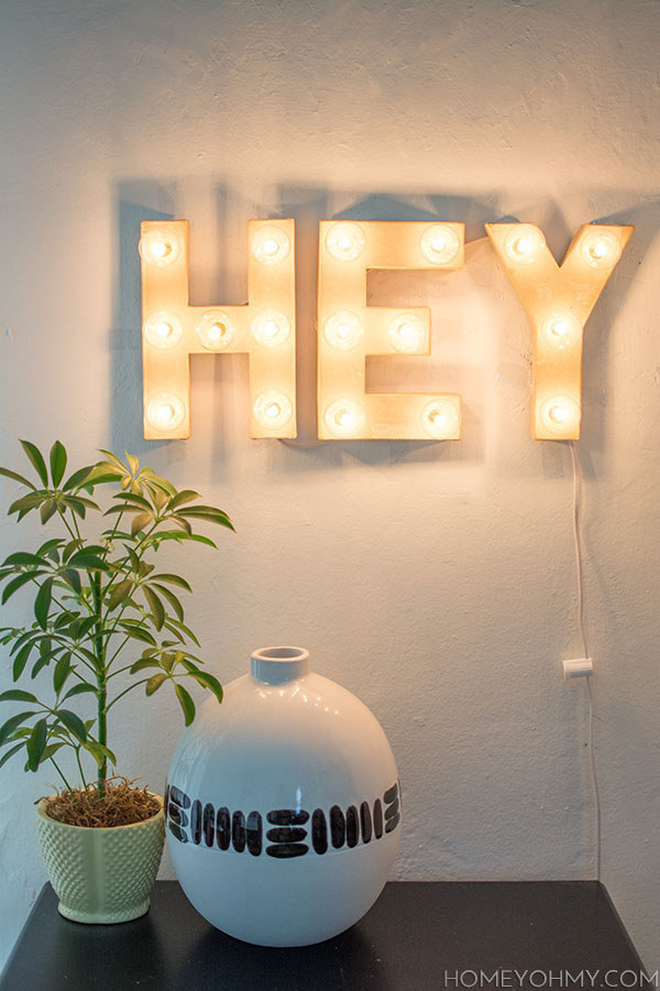 Build a lit up marquee sign of whatever words you want.