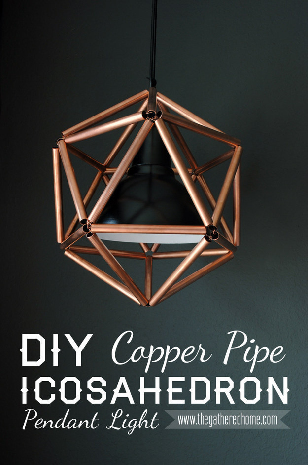 Instead of decorating your home with expensive lighting and lighting decor, make your very own industrial looking light fixtures out of copper.