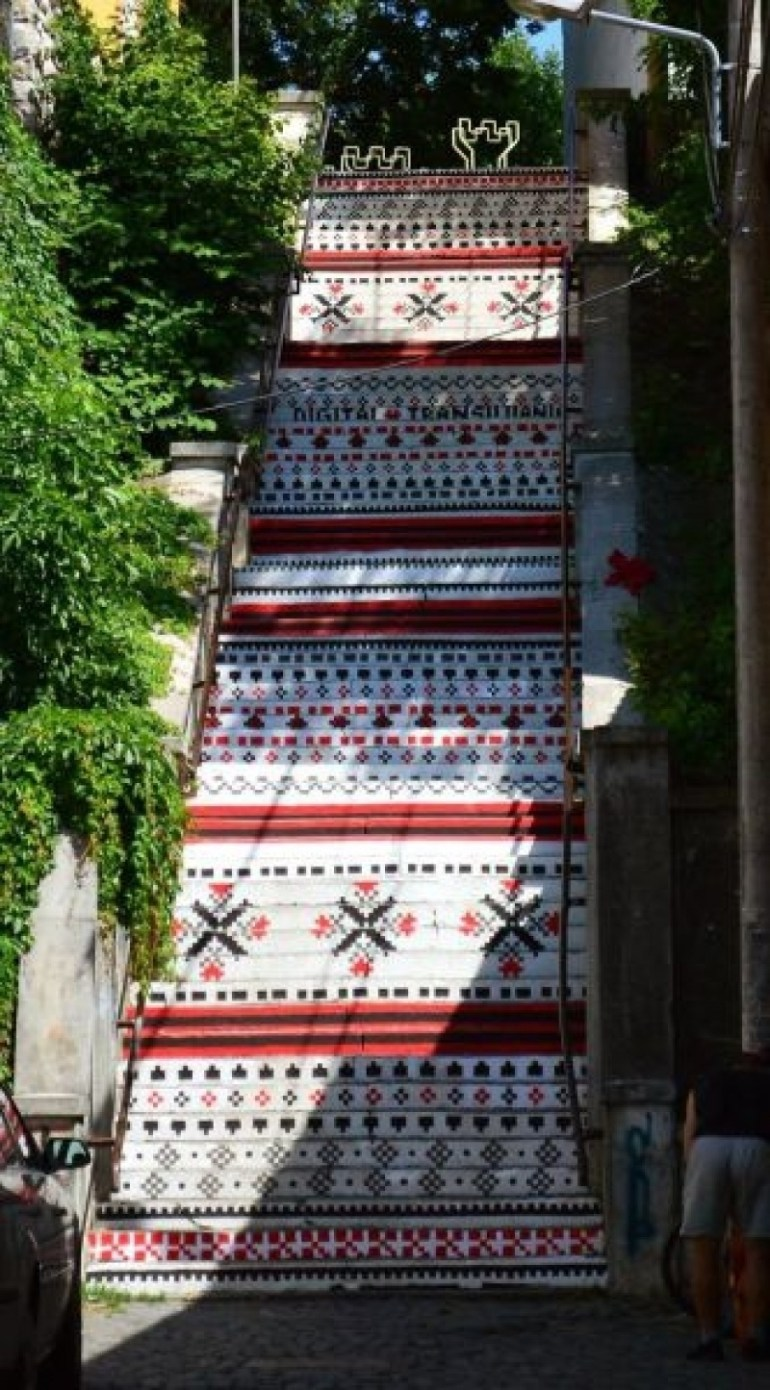And interesting and detailed staircase in Tirgu Mures, Romania.