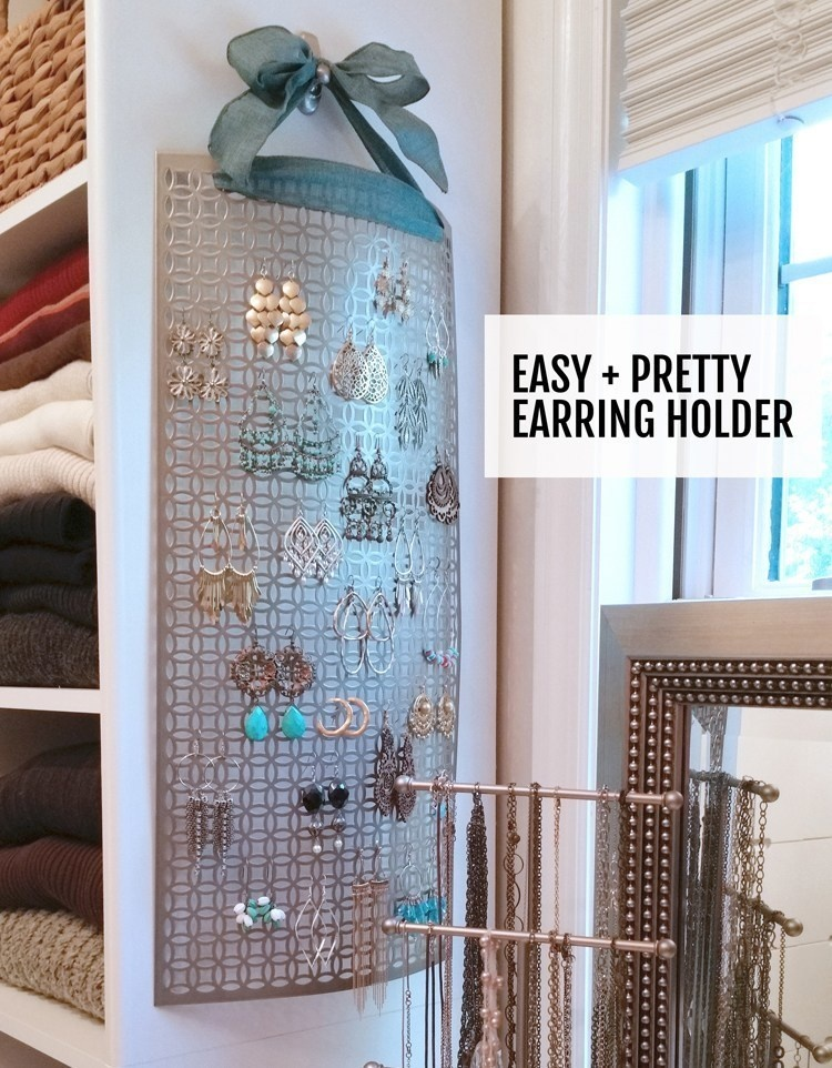 Use an aluminum sheet from Home Depot as the base of a jewelry organizer.