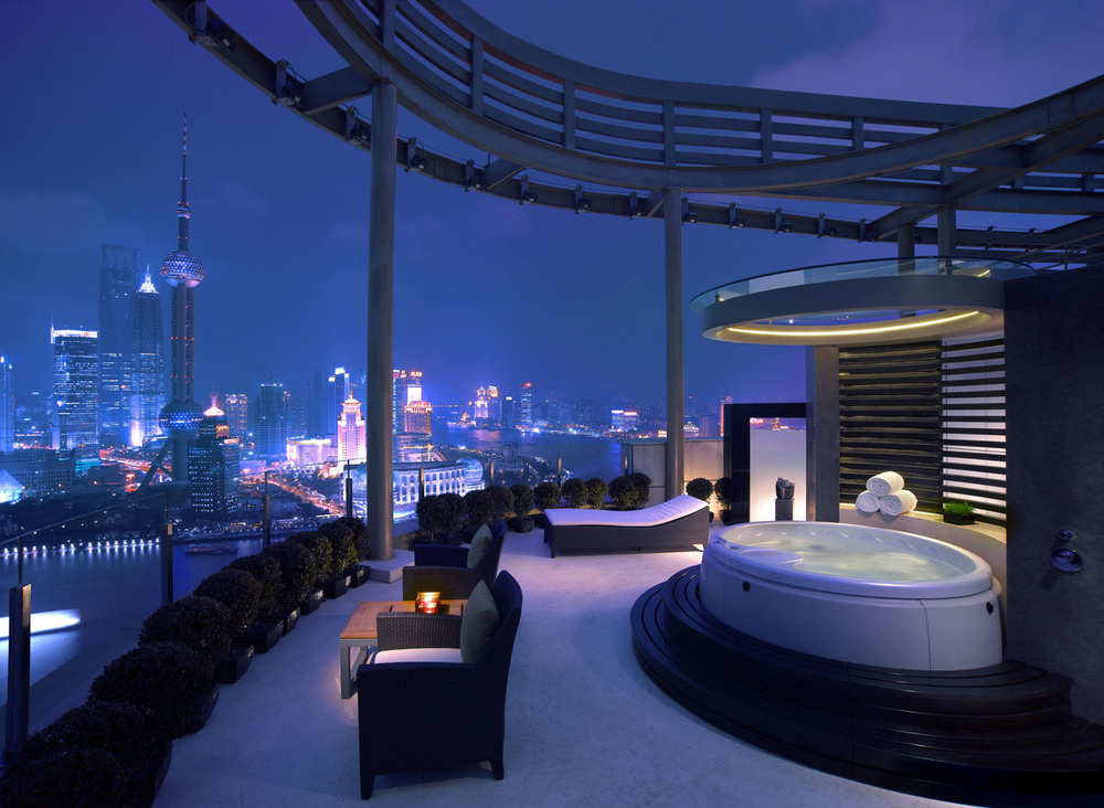 The Vue Bar sits on two levels of the Hyatt hotel in Shanghai, China.