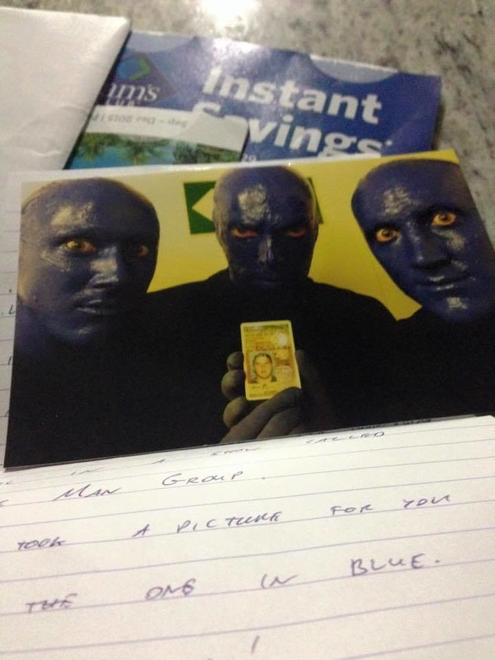 Losing your ID? Fail. Having it returned by the Blue Man Group? Total win.