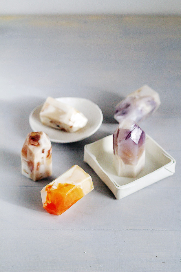 Instead of using regular soap, make your very own unique crystal shaped soaps.
