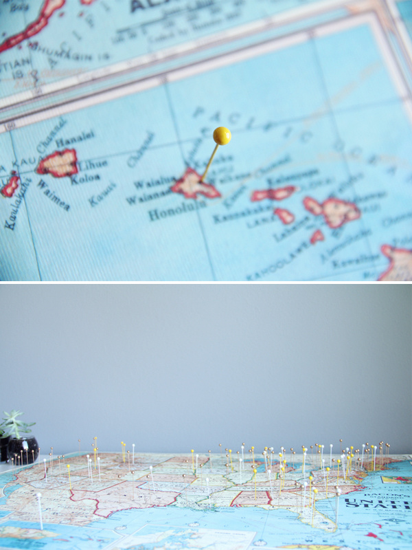 Hang up a map and use pushpins to show where you've already traveled.