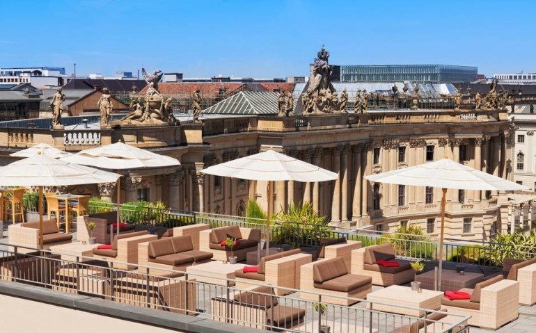 The Hotel de Rome rooftop overlooks the historic city centre of Berlin, Germany.