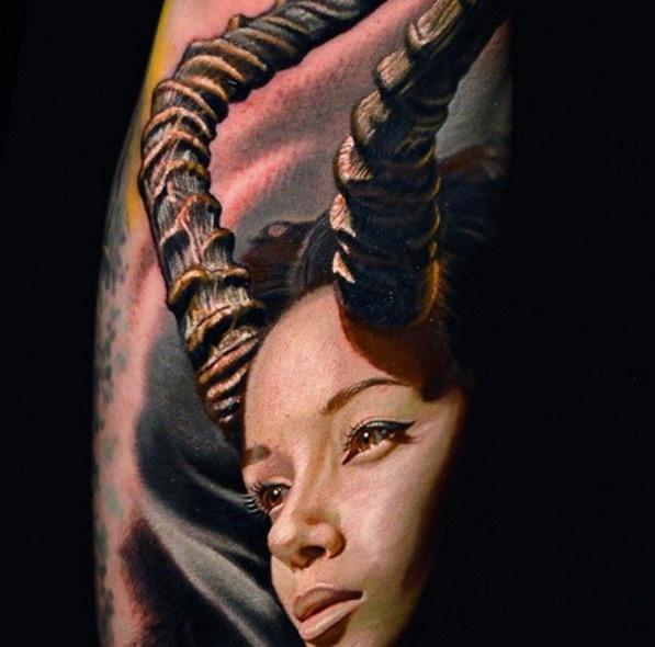 A fantasy horn girl.