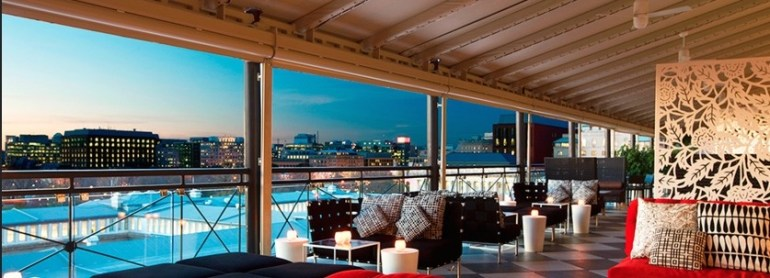The POV in the W hotel is surrounded by the nation's landmarks and monuments in Washington, DC.