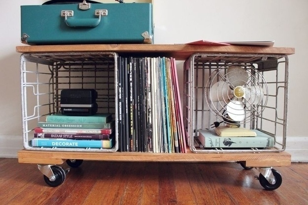 Use pine wood, metal crates, and casters to create your own storage bench.