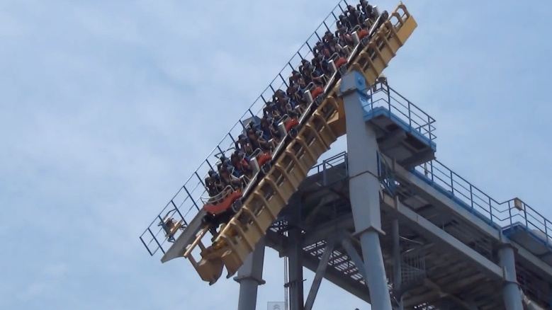 """The Gravity Max at Lihpao Land Discovery World in Taiwan is terrifying just to look at: The ride goes up 114 feet before the track """"break,"""" flipping the car down 90 degrees and dropping it 34 stories. It's the only roller coaster of its kind in the world."""