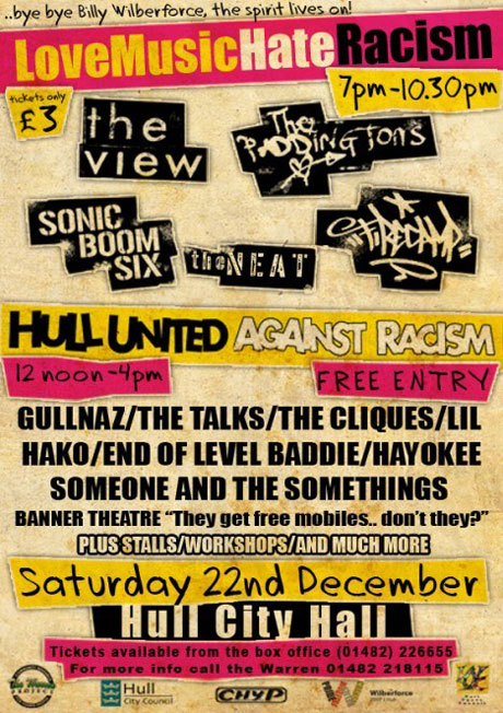 Love Music, Hate Racism benefit gig flyer