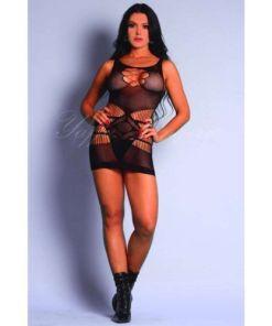 Mini vestido sensual sem manga com aberturas no quadril e detalhes por toda a peça - YAFFA Lingerie