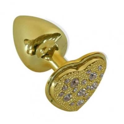 Plug em Metal Coração cravejado com Strass - Joia Anal Dourado HARD