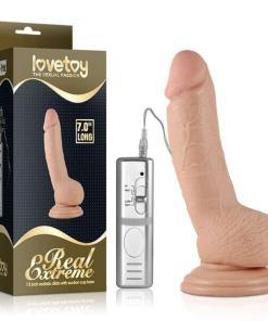 Pênis Realístico com Vibrador Curvo Realista macio e firme 7.0 com Vibrador - LOVETOY Real Extreme