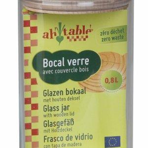 Bocal en verre couvercle en bois de hêtre 0.8L