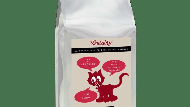 croquettes sans céréales vétality chat