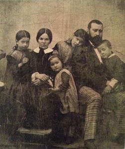 F.F. Millet z drugą żoną Catherine Lemaire i dziećmi w 1854 roku - Dagerotyo, Muzeum Orsey, Paryż