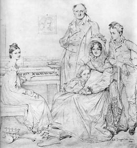 1818 rok, obrazek autorstwa Ingres przedstwiający Stamaty w wieku siedmiu lat na kolanach matki i w otoczeniu rodziny