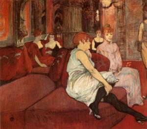 """Obraz Tolouse Lautrec'a """"W salonie przy ulicy Moulines z 1894 autor prezentuje scenę z domu publicznego """"Le Fleur blnahce"""". Prostytutki były częstymi bohaterkami prac Laureca, który w """"La Fleur blache"""" miał podobno nawet swój pokój."""