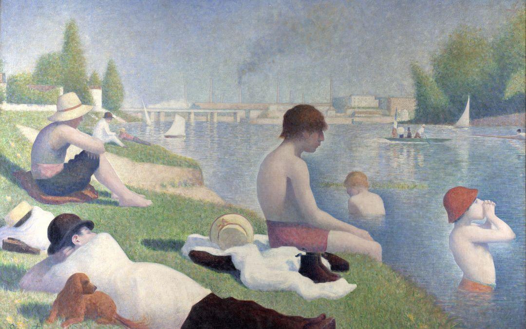 """""""Kąpiel w Ansieres"""" 1883-1884 – Georges Seurat"""