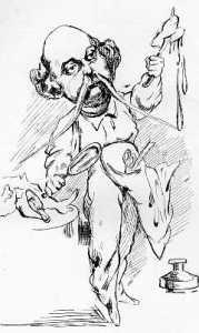 Flaubert preparuje Madame Bovary. Karykatura autorstwa A. Lemota (La Parodie, 1869)