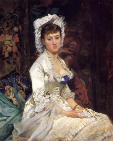 """Eva Gonzales """"Portret kobiety w bieli"""" 1879"""