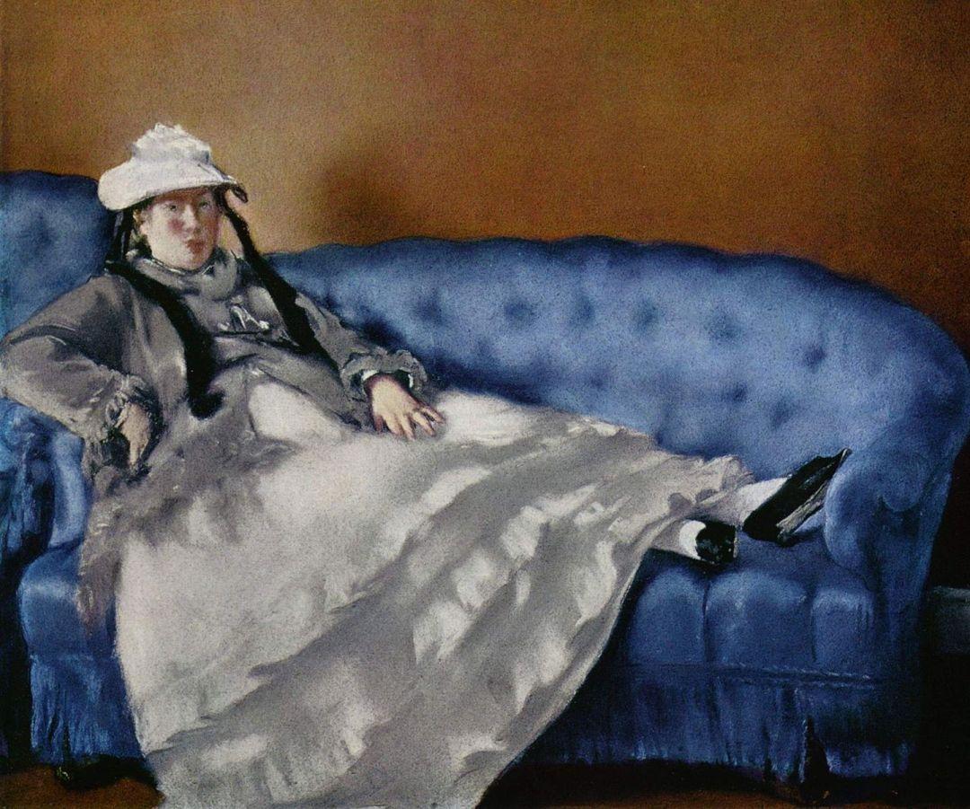 Madame Manet na niebieskiej sofie 1880