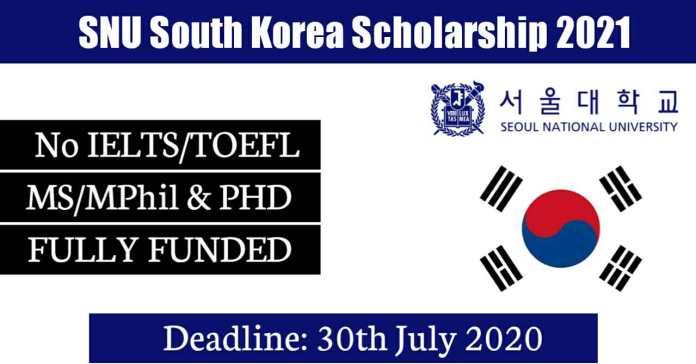 Seoul National University International Scholarship 2021 (Fully Funded)