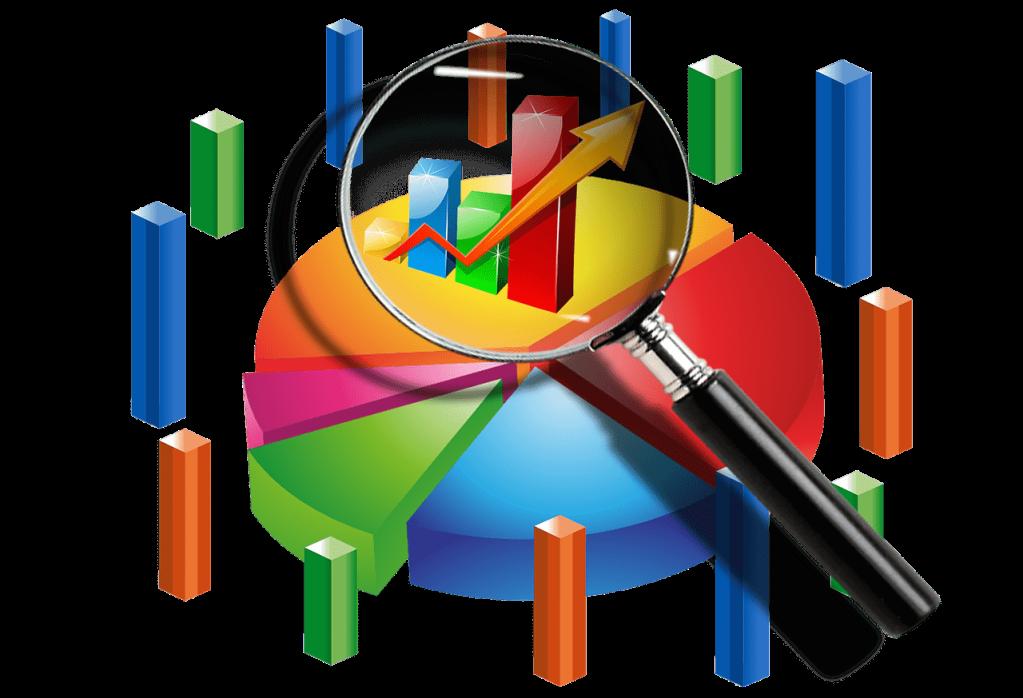 Dibujo de una lupa enfocando estadísticas en 3D de un segmento de mercado