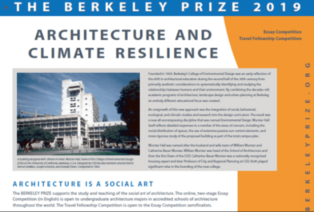 Berkeley Undergraduate Prize for Architectural Design Excellence 2019 Essay Competition & Travel Fellowship -USD$ 25,000 Prize)