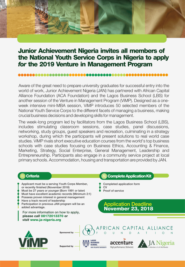 junior achievement nigeria venture in management program 2019 mini mba course for youth corpers nigeria - Junior Achievement Nigeria Venture in Management Program 2019 (Mini-MBA Course for Youth Corpers) – Nigeria.