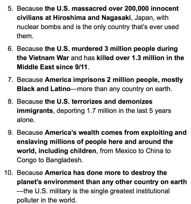 TOP TEN REASONS NOT TO SALUTE, STAND FOR ANTHEM, OR RESPECT AMERIKKKAN FLAG