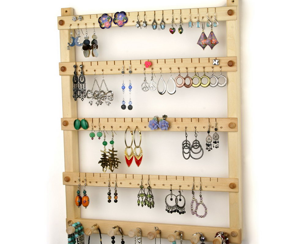 Hanging Jewelry Organizer Wood