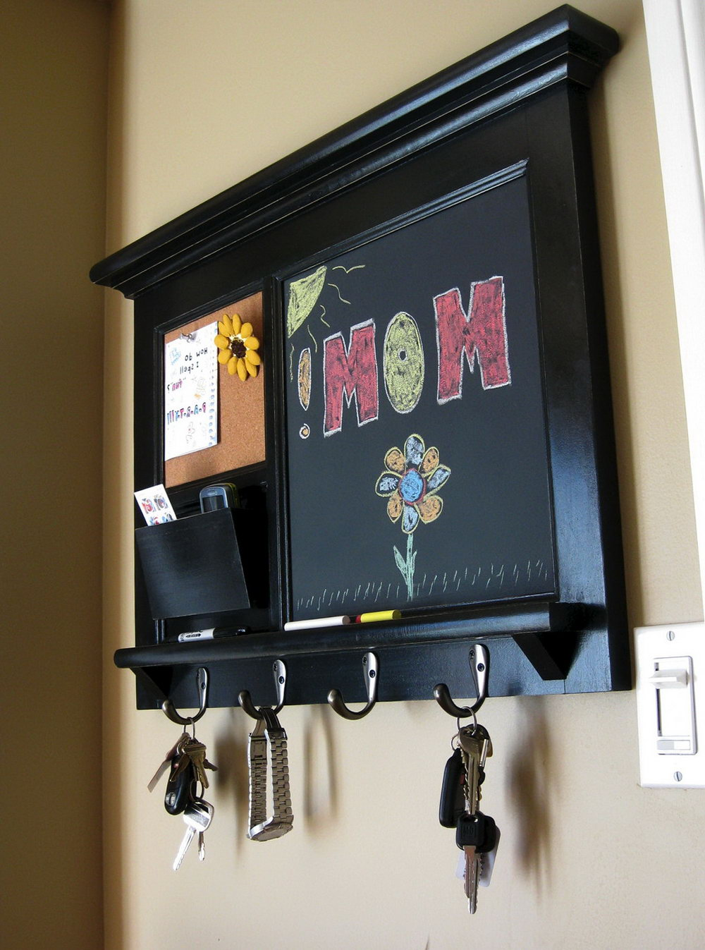 Wall Mail Organizer With Hooks